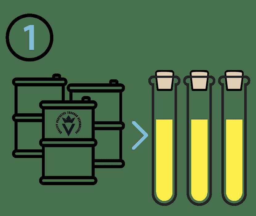Illustrasion of three barrels and three vials